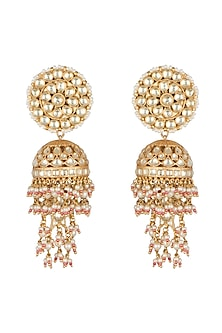 Gold Finish Kundan Jhumka Earrings by Auraa Trends-JEWELLERY ON DISCOUNT
