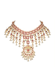 Gold Finish Red Onyx Necklace by Auraa Trends-JEWELLERY ON DISCOUNT