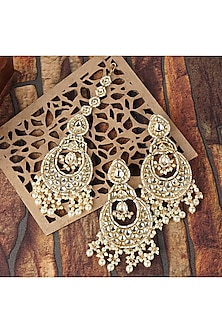 Gold Plated Chandbali Earrings With Maang Tikka by Auraa Trends