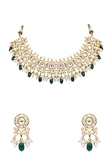 Gold Finish Pearl Drop Necklace Set by Auraa Trends