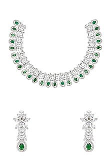 White Finish Green Onyx & Diamante Necklace Set by Auraa Trends