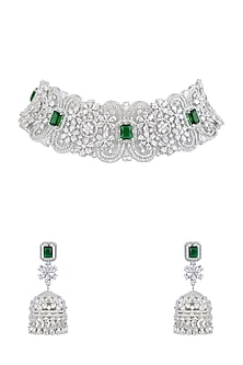White Finish Diamante Green Necklace Set by Auraa Trends