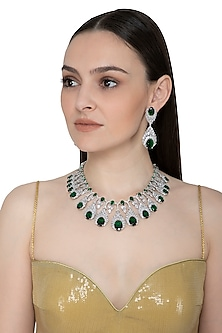 White Finish Diamante & Onyx Necklace Set by Auraa Trends