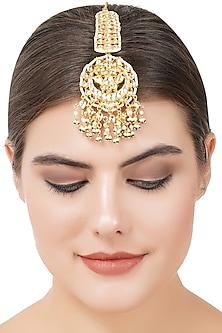Gold Plated Kundan Maang Tikka by Auraa Trends