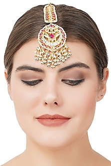 Gold Plated Pearl Drop Maang Tikka by Auraa Trends