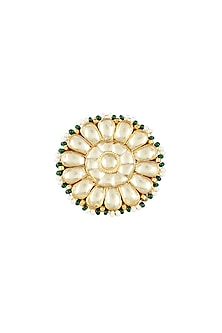 Gold Plated Pearl Drop Ring by Auraa Trends
