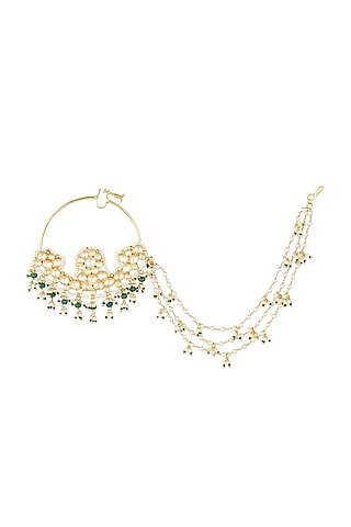 Gold Plated Kundan Nath by Auraa Trends