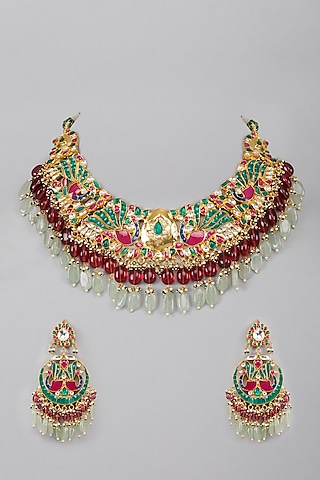 Gold Plated Green & Red Stone Kundan Necklace Set by Auraa Trends