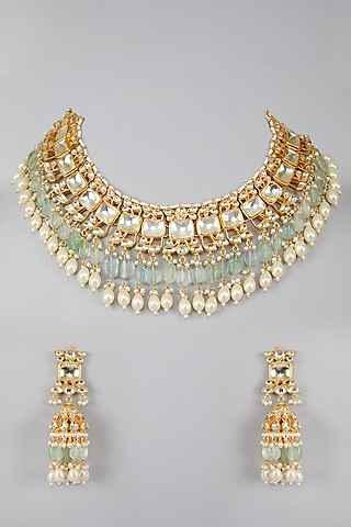 Gold Plated Kundan Sea Green Stones Necklace Set by Auraa Trends