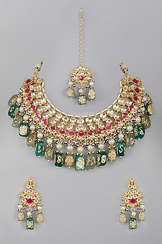 Gold Plated Green & Red Stones Necklace Set by Auraa Trends