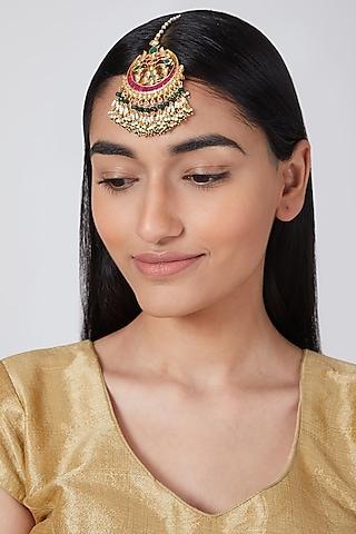 Gold Plated Kundan Maangtikka by Auraa Trends