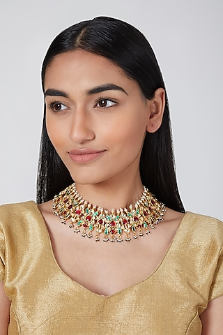 Gold Plated Kundan Necklace by Auraa Trends