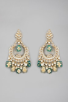 Gold Plated Kundan Stone Earrings by Auraa Trends