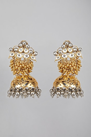 Gold Plated Studded Jhumka Earrings  by Auraa Trends