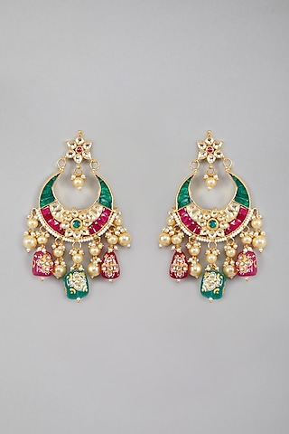 Gold Plated Green & Red Stone Earrings by Auraa Trends