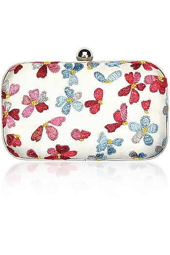 Powder blue and pastel pink flower embroidered silver clutch by Aiyana by Umeed foundation