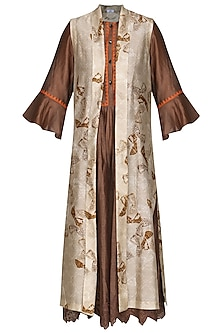 Brown Digital Printed Front Open Jacket With Beige Tunic by AUR