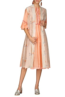 Orange Digital Printed Front Open Jacket With Peach Tunic by AUR