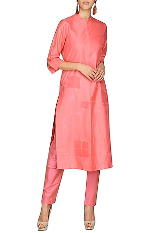Pink Embroidered Tunic With Pants by AUR