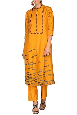 Orange Laser Cut Embroidered Tunic With Pants by AUR