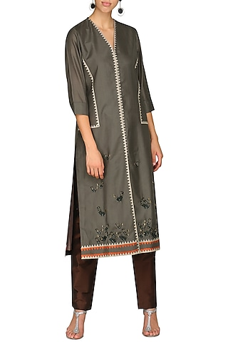 Brown Laser Cut Embroidered Tunic With Pants by AUR