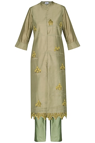 Green Embroidered Tunic With Pants by AUR