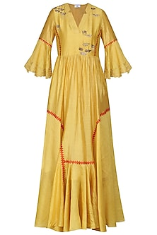 Yellow Embroidered Anarkali Gown by AUR