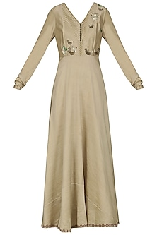 Beige Embroidered Anarkali Gown by AUR