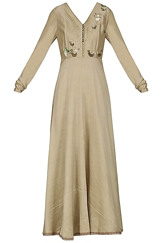 Beige Embroidered Anarkali Gown by AUR