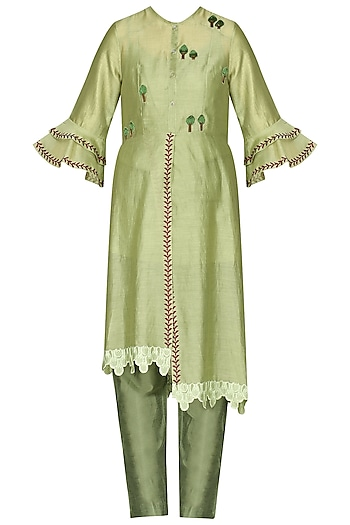 Green Laser Cut Embroidered Tunic With Pants by AUR