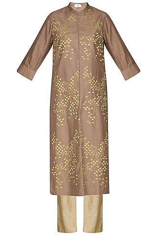 Brown Zari Embroidered Tunic With Pants by AUR