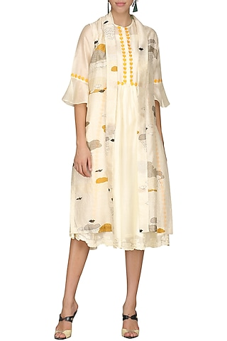 Off White Digital Printed Jacket With Tunic by AUR