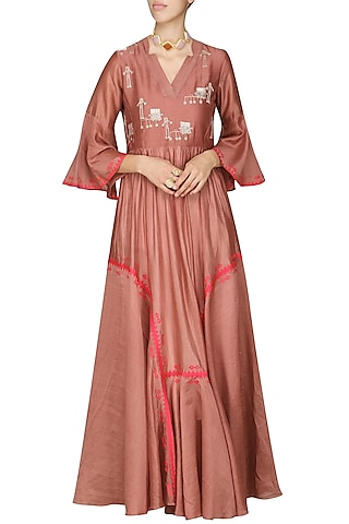Dark Peach Embroidered Anarkali Gown by AUR