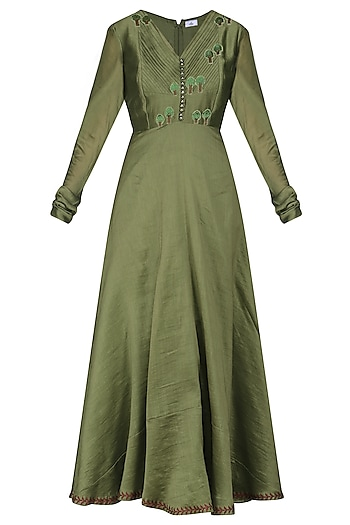 Green Embroidered Anarkali Gown by AUR