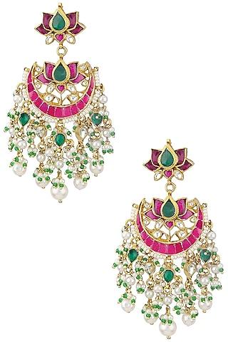 Gold Plated Kundan and Multi Stone Chandbali Earrings by Auraa Trends