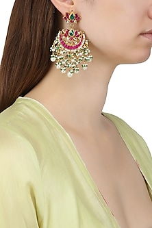 Gold Plated Kundan and Multi Stone Chandbali Earrings by Auraa Trends