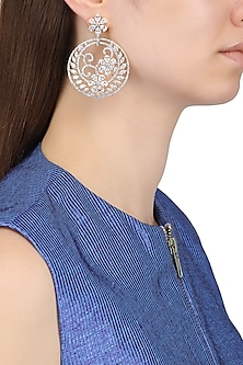 Gold Plated Flower Motifs and American Diamonds Earrings by Auraa Trends
