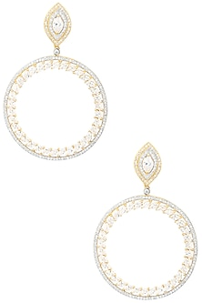Gold Plated Round Drop American Diamonds Earrings by Auraa Trends