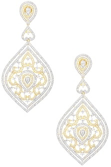 Gold Plated Leaf Shaped Drop Earrings by Auraa Trends
