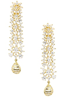 Gold Plated American Diamonds and Textured Drop Earrings by Auraa Trends