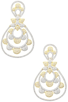 Gold and Rhodium Dual Finish American Diamonds Earrings by Auraa Trends