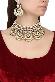 Gold Plated Kundan and Pearls Crescent Shaped Necklace Set by Auraa Trends
