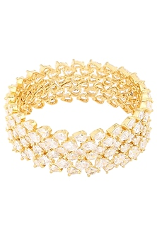 Gold Plated American Diamonds Bangle Set by Auraa Trends