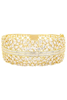 Gold Plated American Diamonds Bangle by Auraa Trends
