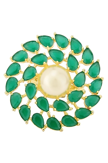 Gold Plated Green Stones and Pearl Ring by Auraa Trends