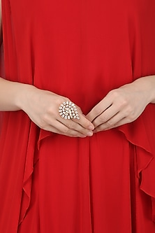 Gold Plated American Diamonds Pear Shaped Ring by Auraa Trends