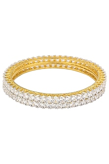 Gold Plated American Diamonds Single Line Bangle Set by Auraa Trends