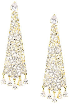 Gold Plated Conical Shaped American Diamond Drop Earrings by Auraa Trends