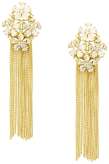 Gold Plated Floral American Diamond and Chain Tassel Earrings by Auraa Trends