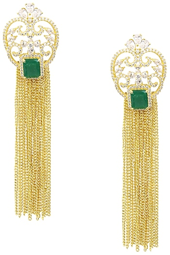 Gold Plated American Diamond, Green Semi Precious Stone and Chain Tassel Earrings by Auraa Trends